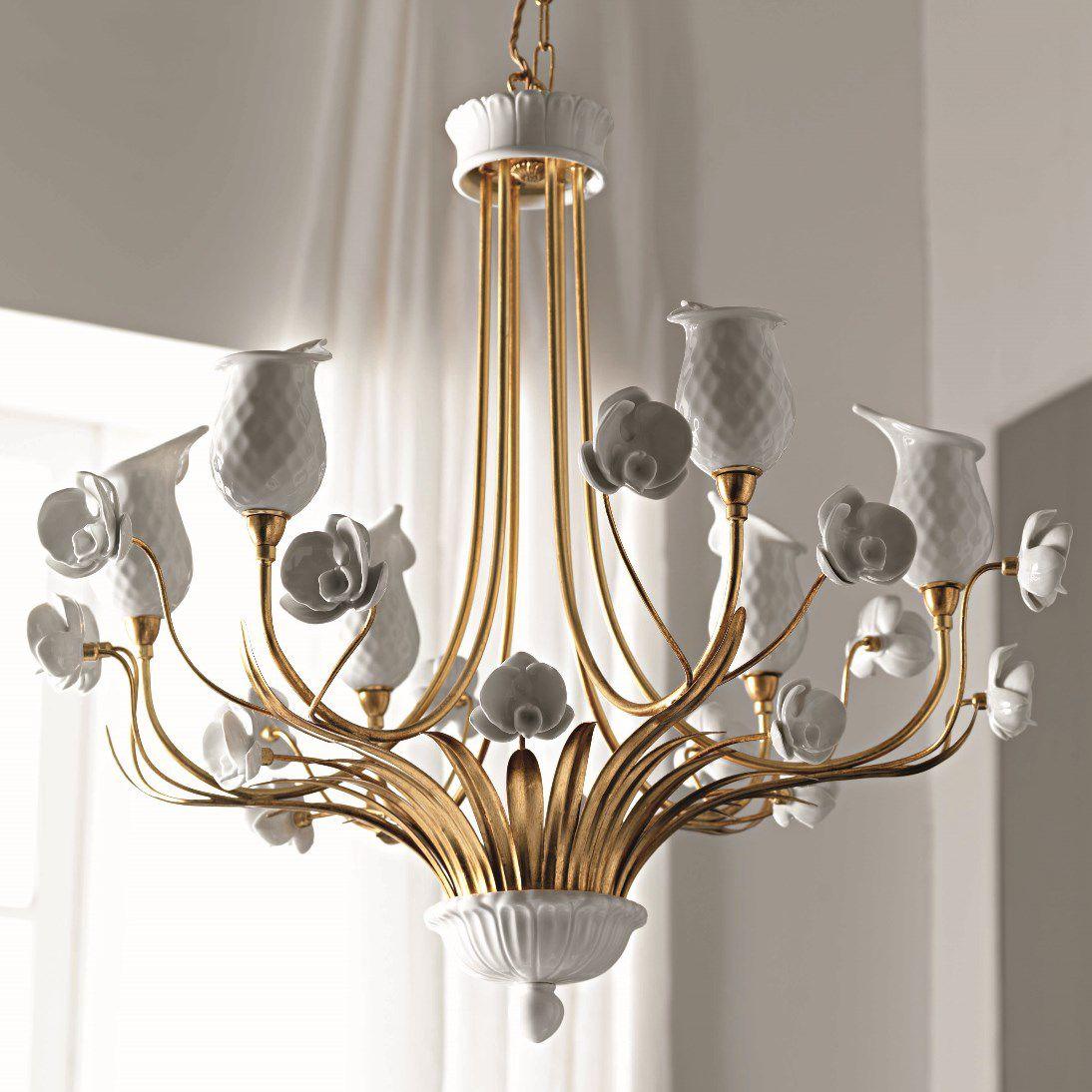 Classic chandelier metal porcelain handmade orchidea le classic chandelier metal porcelain handmade arubaitofo Image collections