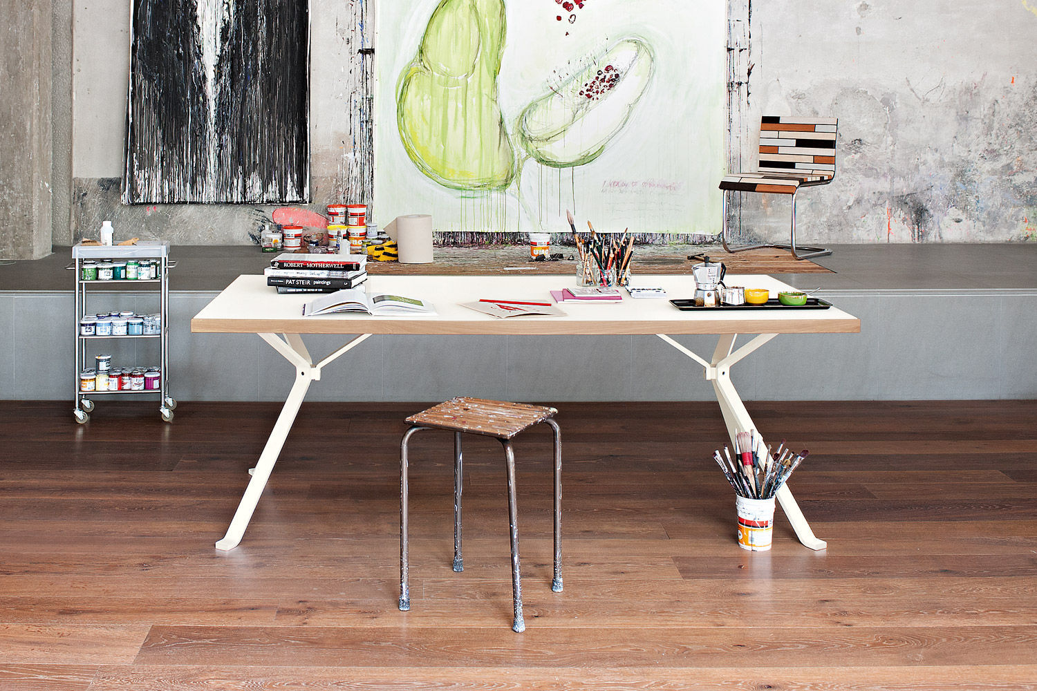 Contemporary work table wooden rectangular commercial REVO