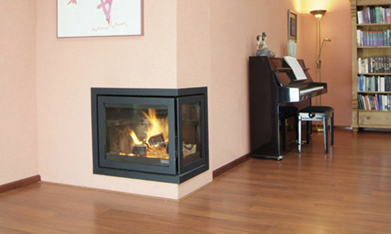 Wood-burning fireplace insert / 3-sided / double-sided / corner ...