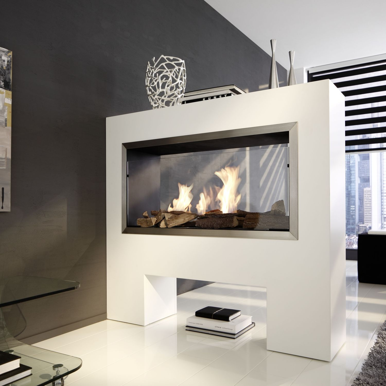 Bioethanol Fireplace / Contemporary / Open Hearth / Double Sided    RAUMTEILERKAMIN TKG BE