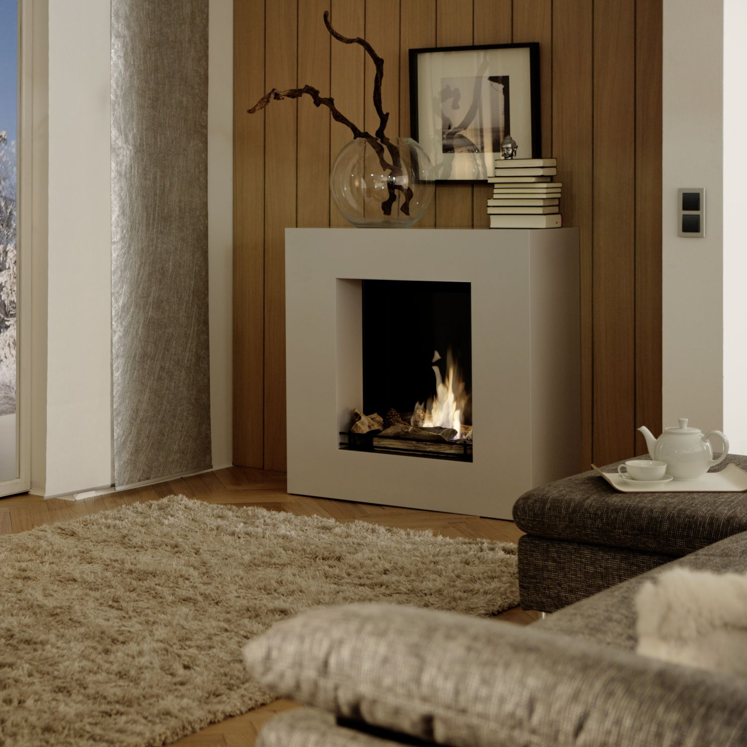 Bioethanol Fireplace / Contemporary / Open Hearth / Central   CAMINETTI  CUBE ALPHA LINEA