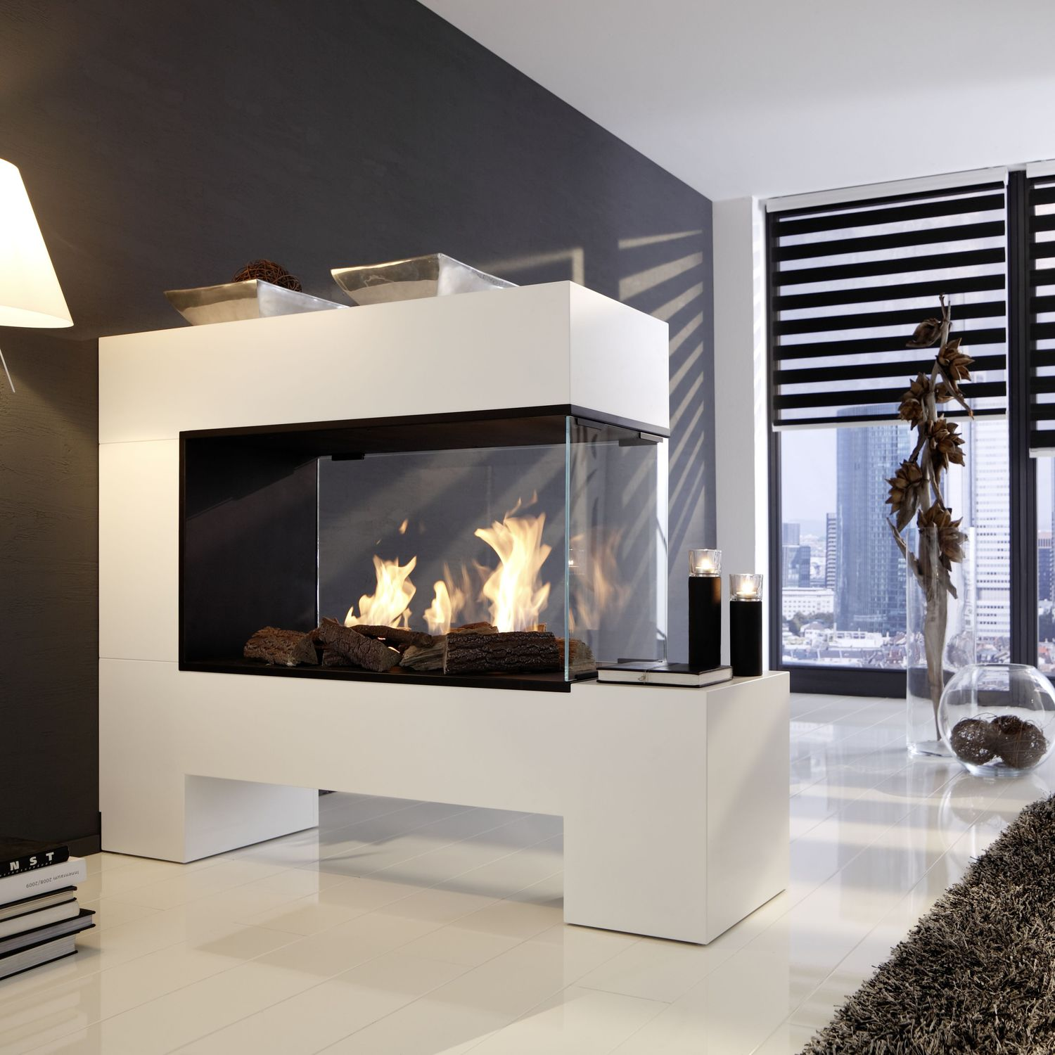 bioethanol fireplace contemporary open hearth double sided