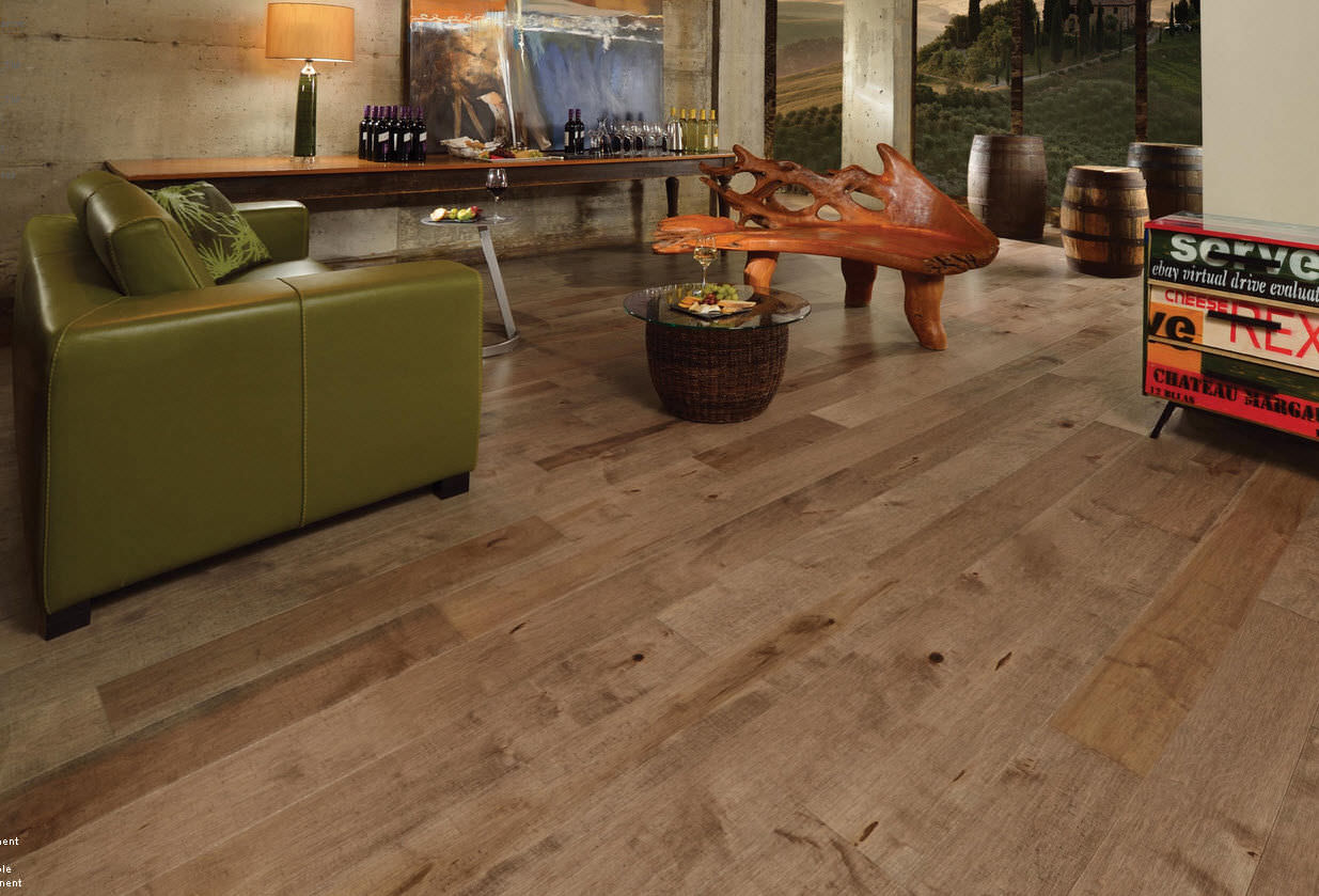 engineered parquet flooring / solid / glued / nailed - old maple