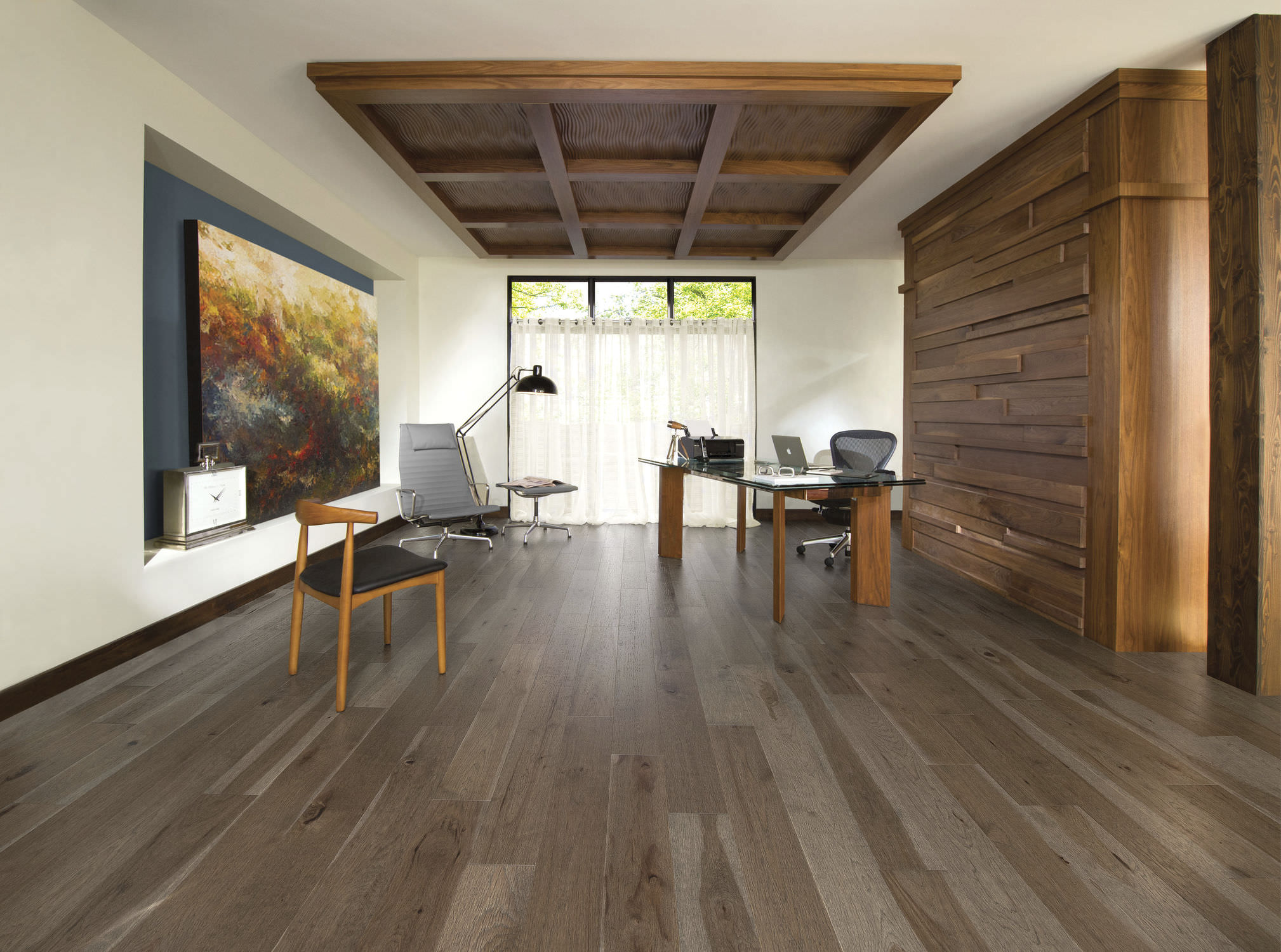 Engineered Parquet Floor Glued Hardwood Matte Old Hickory Barn Wood