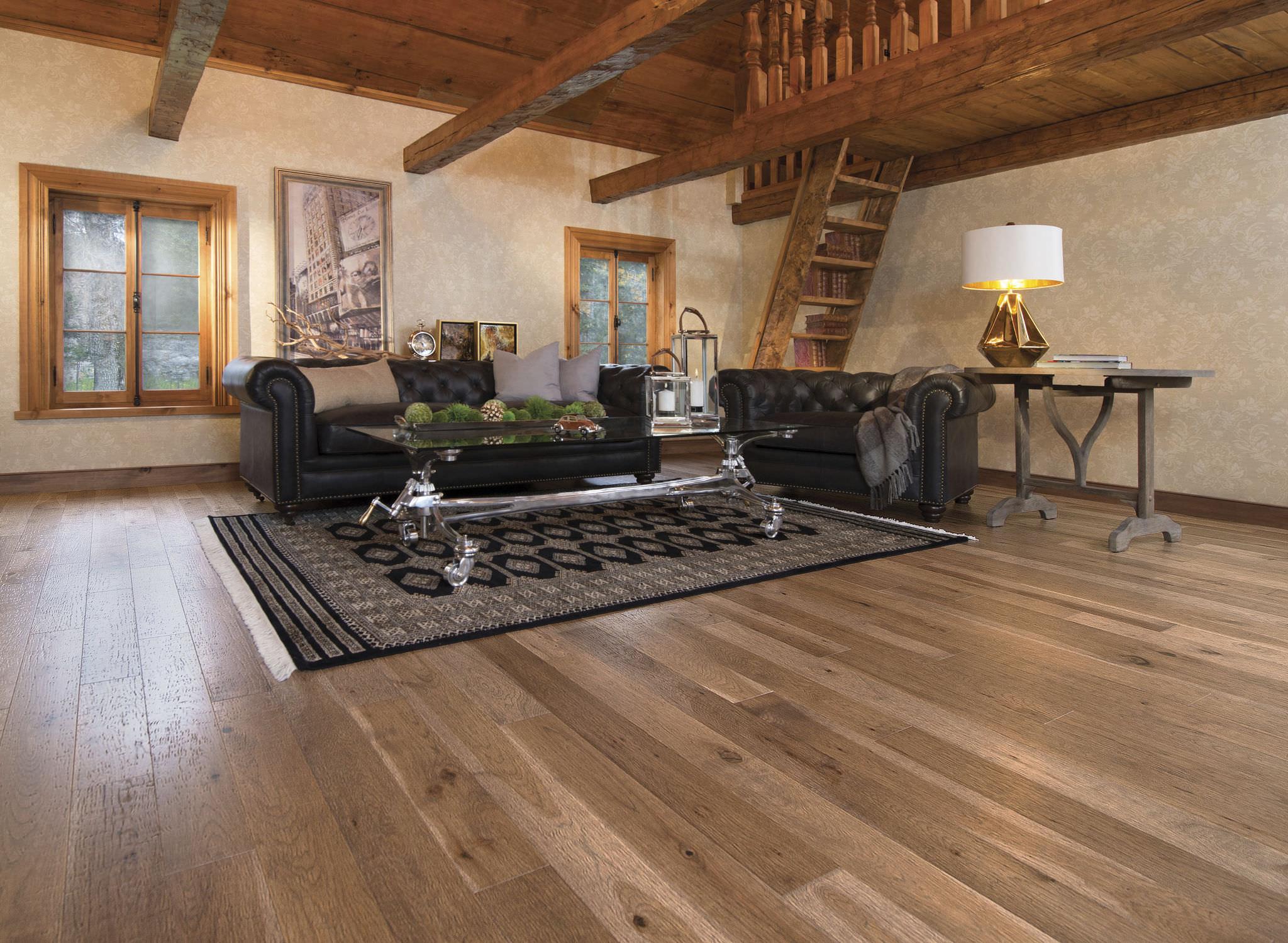 engineered parquet flooring / glued / hardwood / matte - old