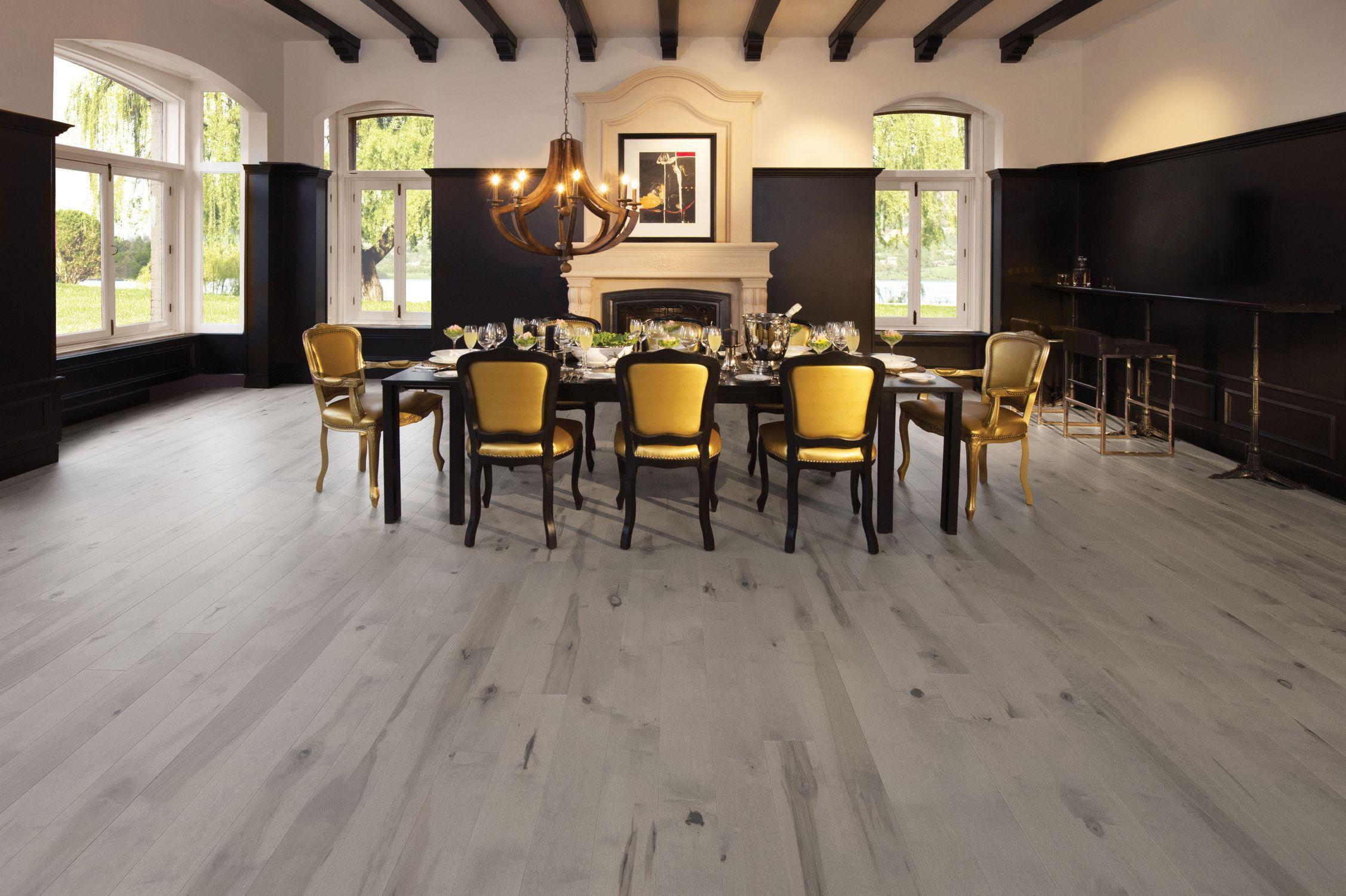 engineered parquet flooring / glued / maple / matte - maple grey