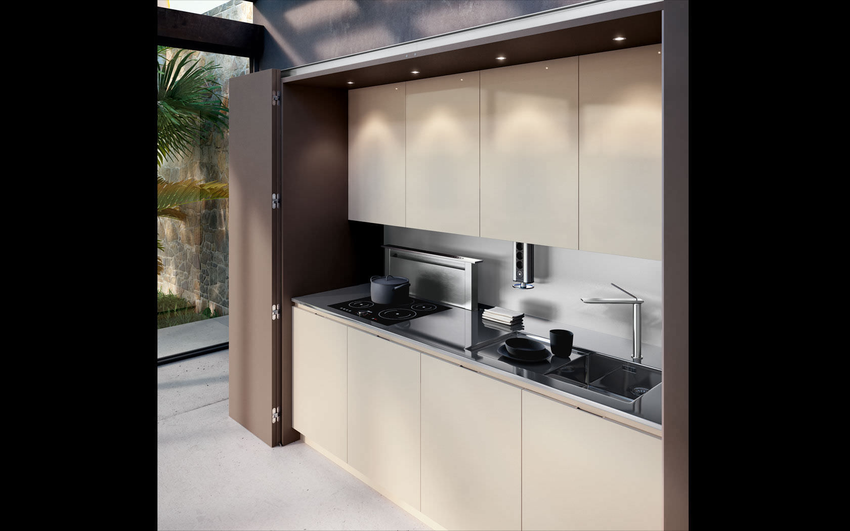 Hidden Kitchen Contemporary Kitchen Wooden Hidden Metamorphosis Lineaquattro