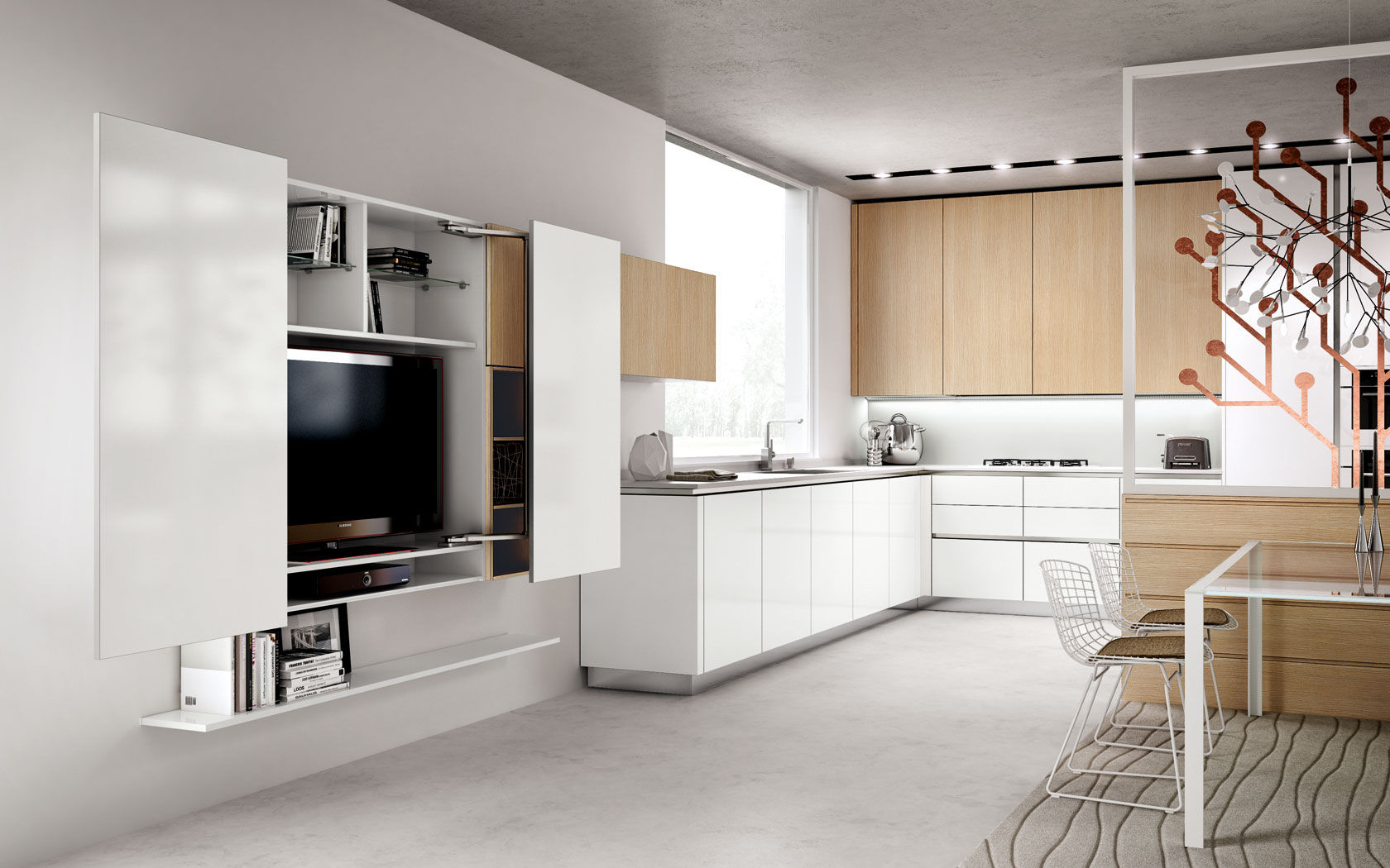 Contemporary kitchen / wooden / lacquered - TECNIKA PURA - Lineaquattro