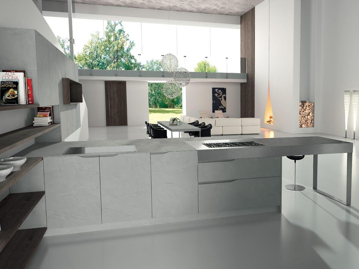 Stainless steel countertop / kitchen - SIGNUM ONDA - Lineaquattro