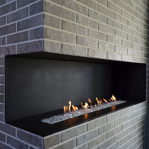Natural Gas Fireplace Contemporary Open Hearth Corner H