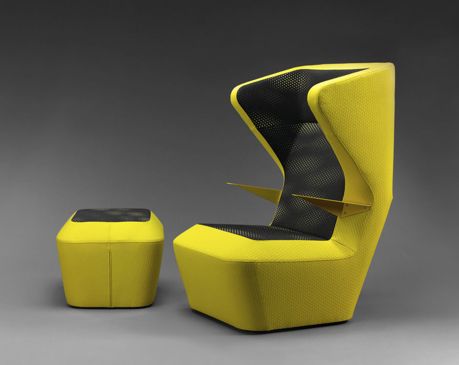 Original Design Visitor Armchair / Fabric / Wing / High Back   FUGA By René  Šulc
