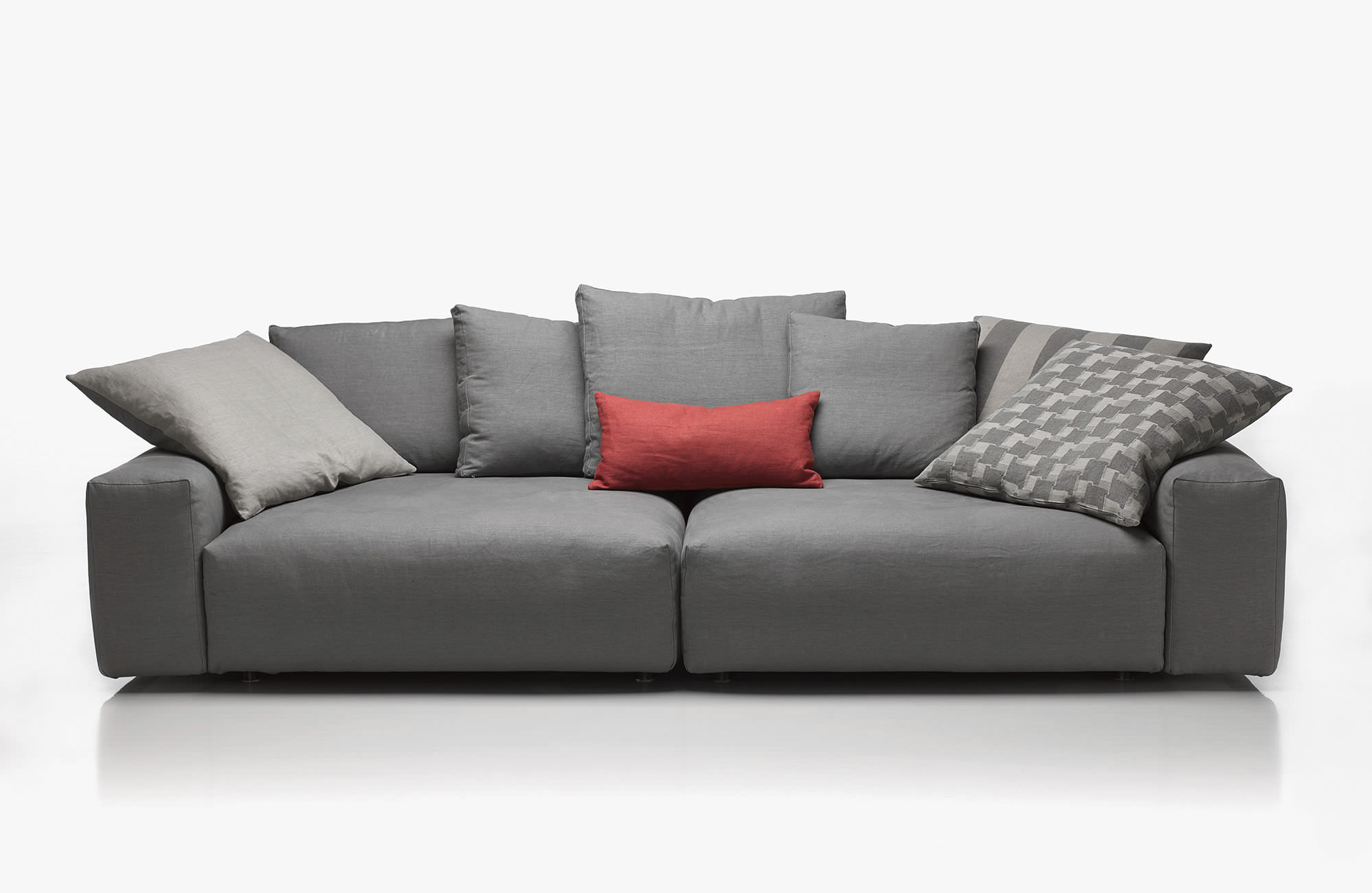 Contemporary Sofa Leather Fabric 3 Seater Baret