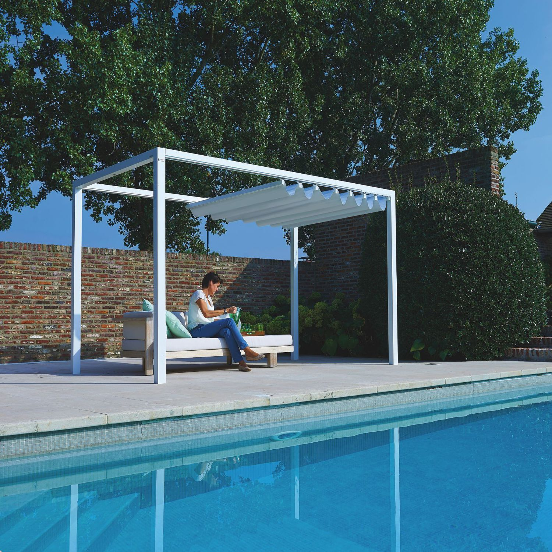 self supporting pergola aluminum fabric sliding canopy cabana