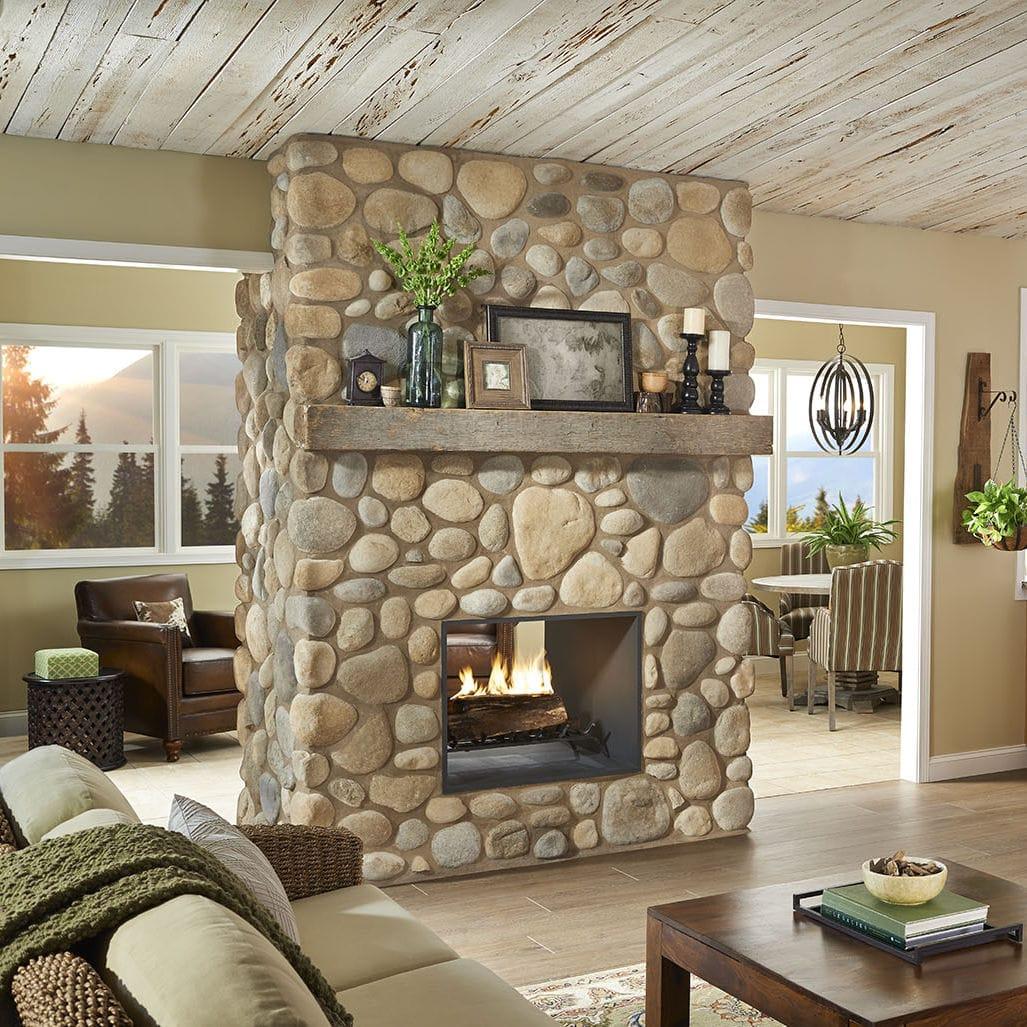stone wall cladding exterior interior textured river rock