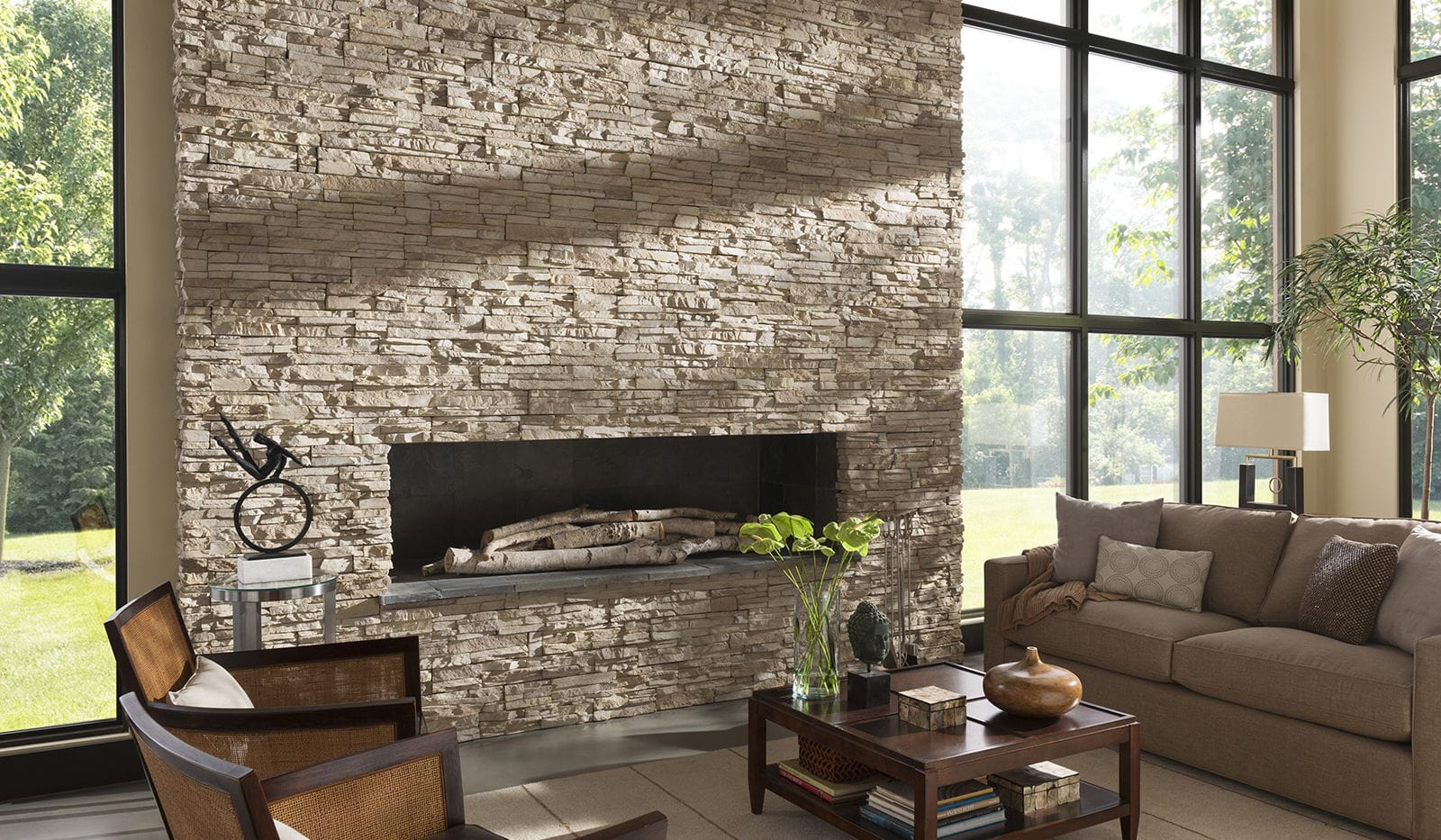 Stone wall cladding exterior interior textured STACKED