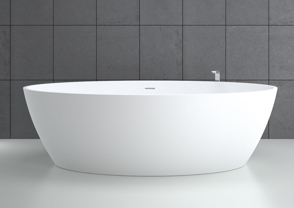 Free Standing Bathtub Oval Solid Surface Hydromassage Space