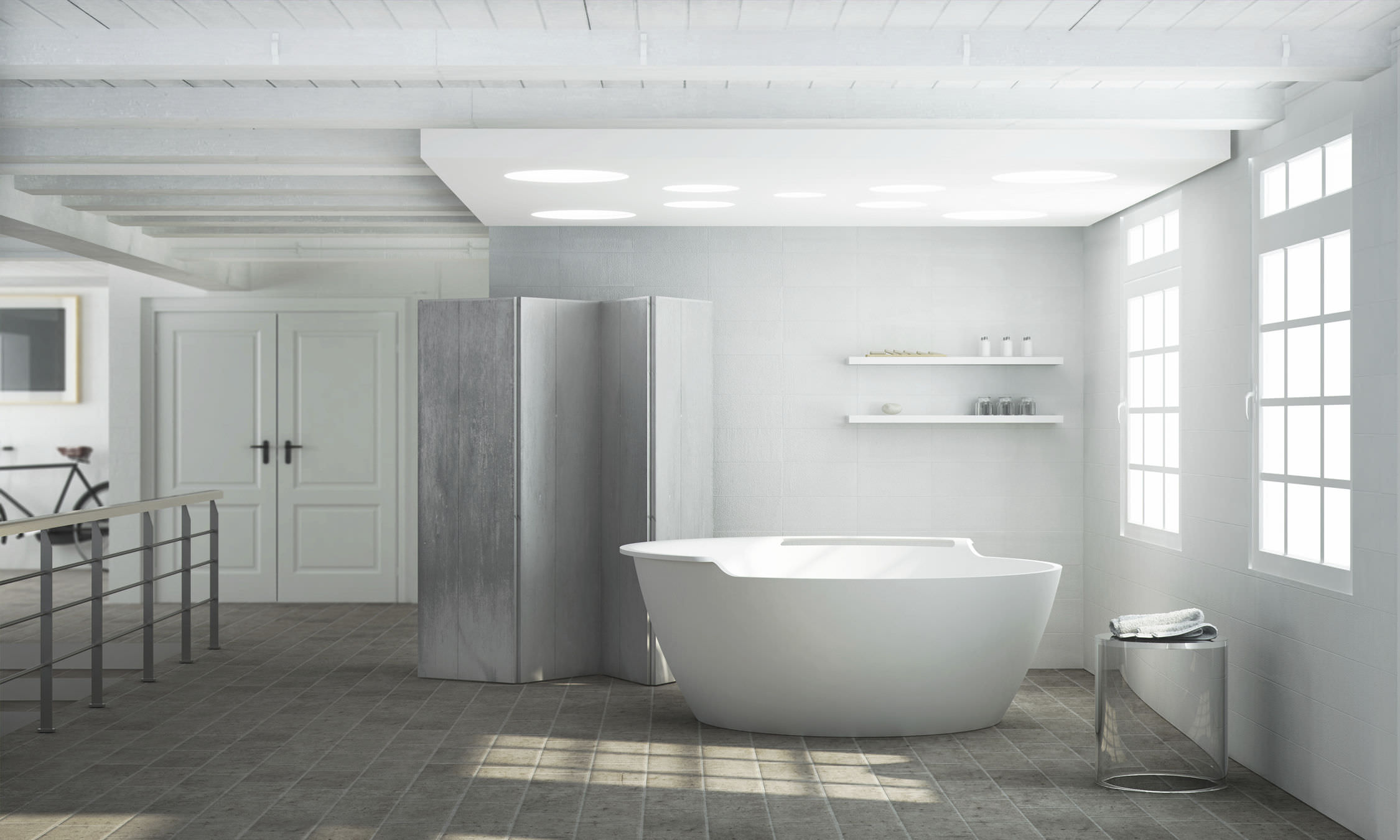Free Standing Bathtub Round Solid Surface Hydromassage Beta