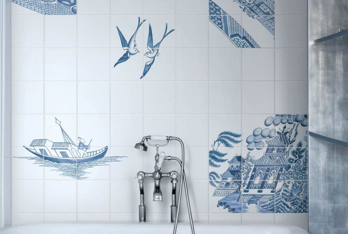 Bathroom tile / wall / ceramic / patterned - BLUE WILLOW by Robert ...