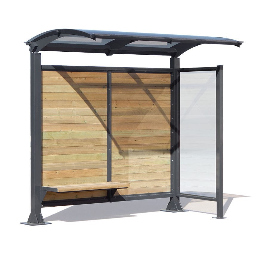 Glass bus shelter / galvanized steel / wooden / polycarbonate