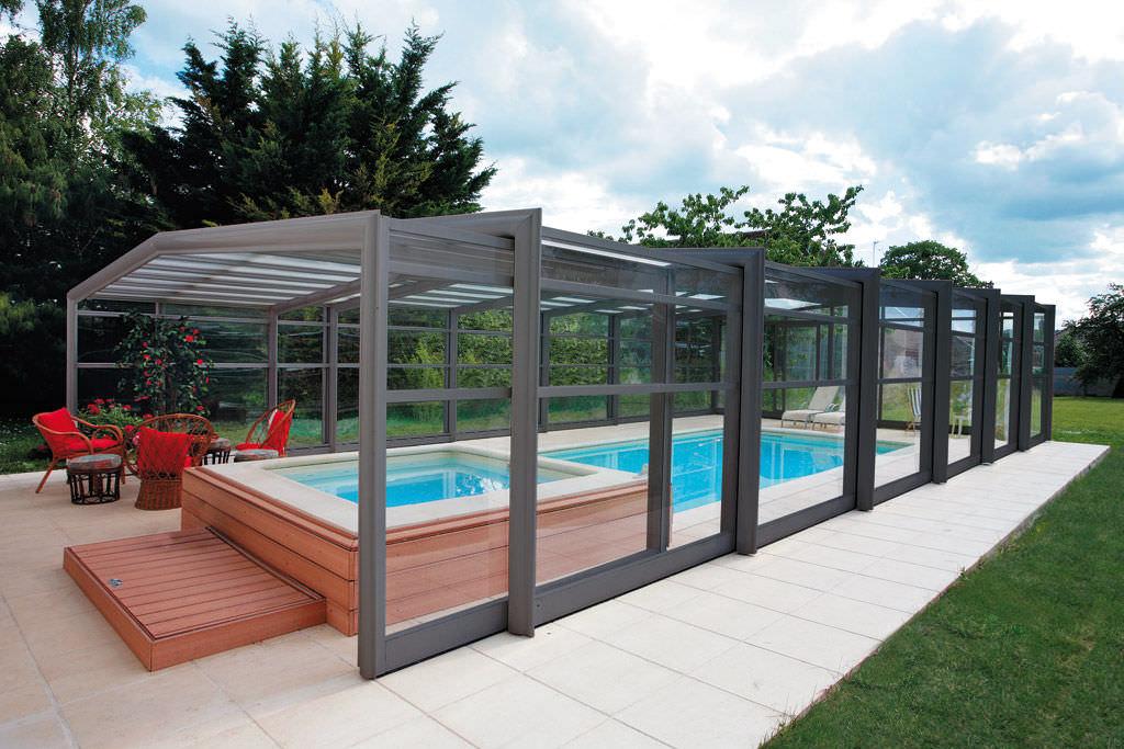 High Swimming Pool Enclosure Telescopic Aluminum Manual