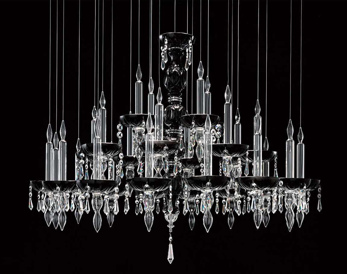 Contemporary chandelier crystal polished stainless steel contemporary chandelier crystal polished stainless steel incandescent limelight 286 by lorenzo bertocco aloadofball Images