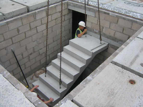 Straight Staircase Concrete Frame Steps With Risers
