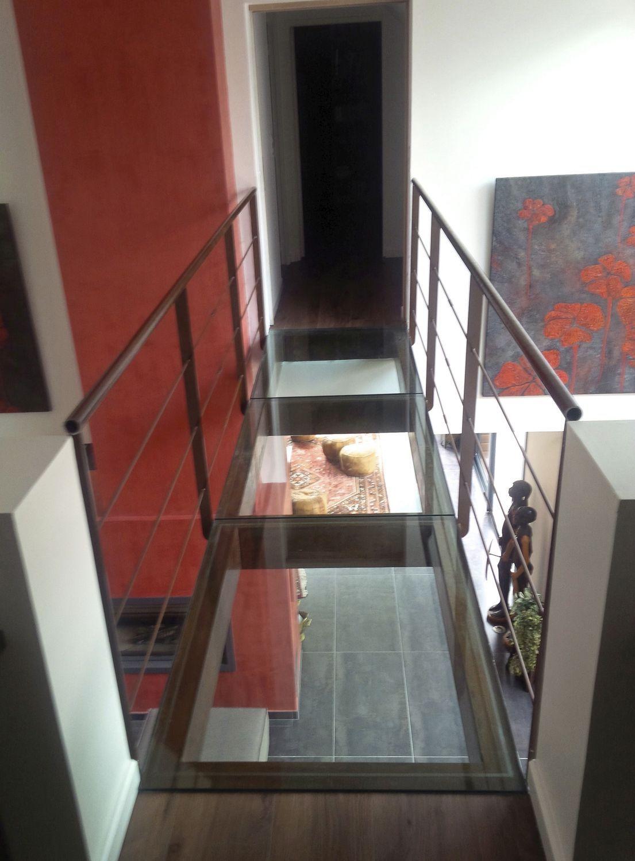 Beam walkway / steel / glass / fixed - PASSERELLE VERRE STANDARD ...