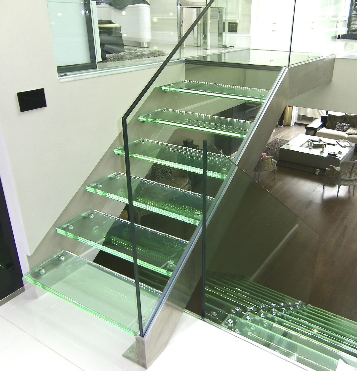 Straight staircase / glass steps / stainless steel frame / without ...