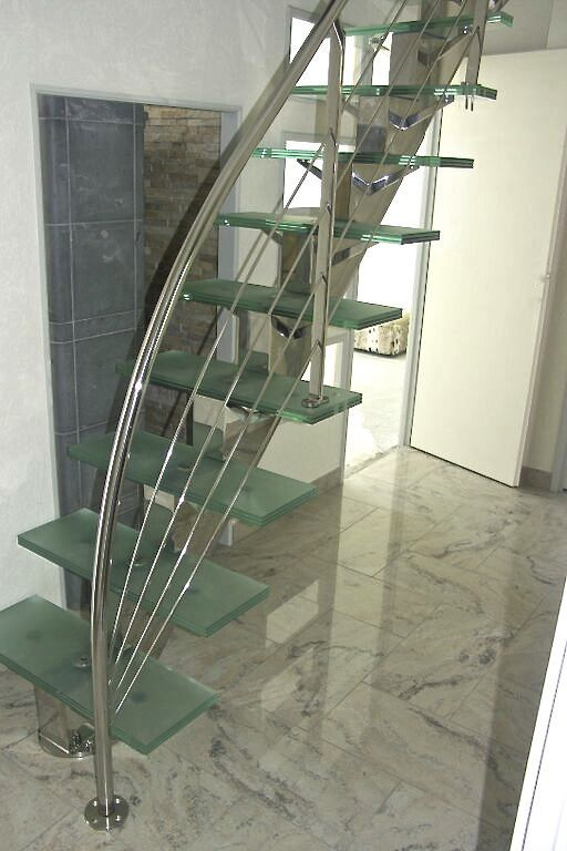 Straight staircase / stainless steel frame / glass steps / without ...