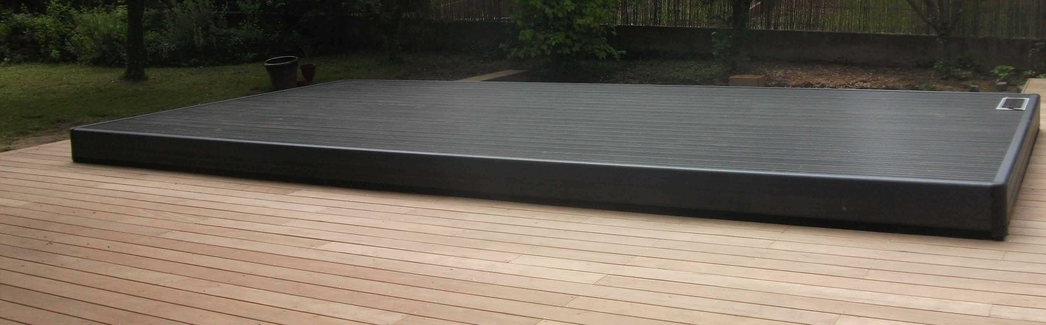 Flat Swimming Pool Enclosure Sliding Wooden Manual Terrasse