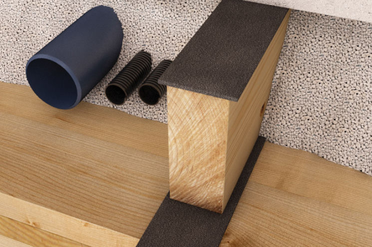 roll resilient underlay / epdm / wood flooring - silent underfloor