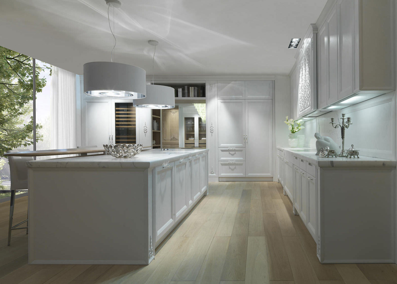 Contemporary Kitchen Marble Wood Veneer With Handles Princess Cashmere
