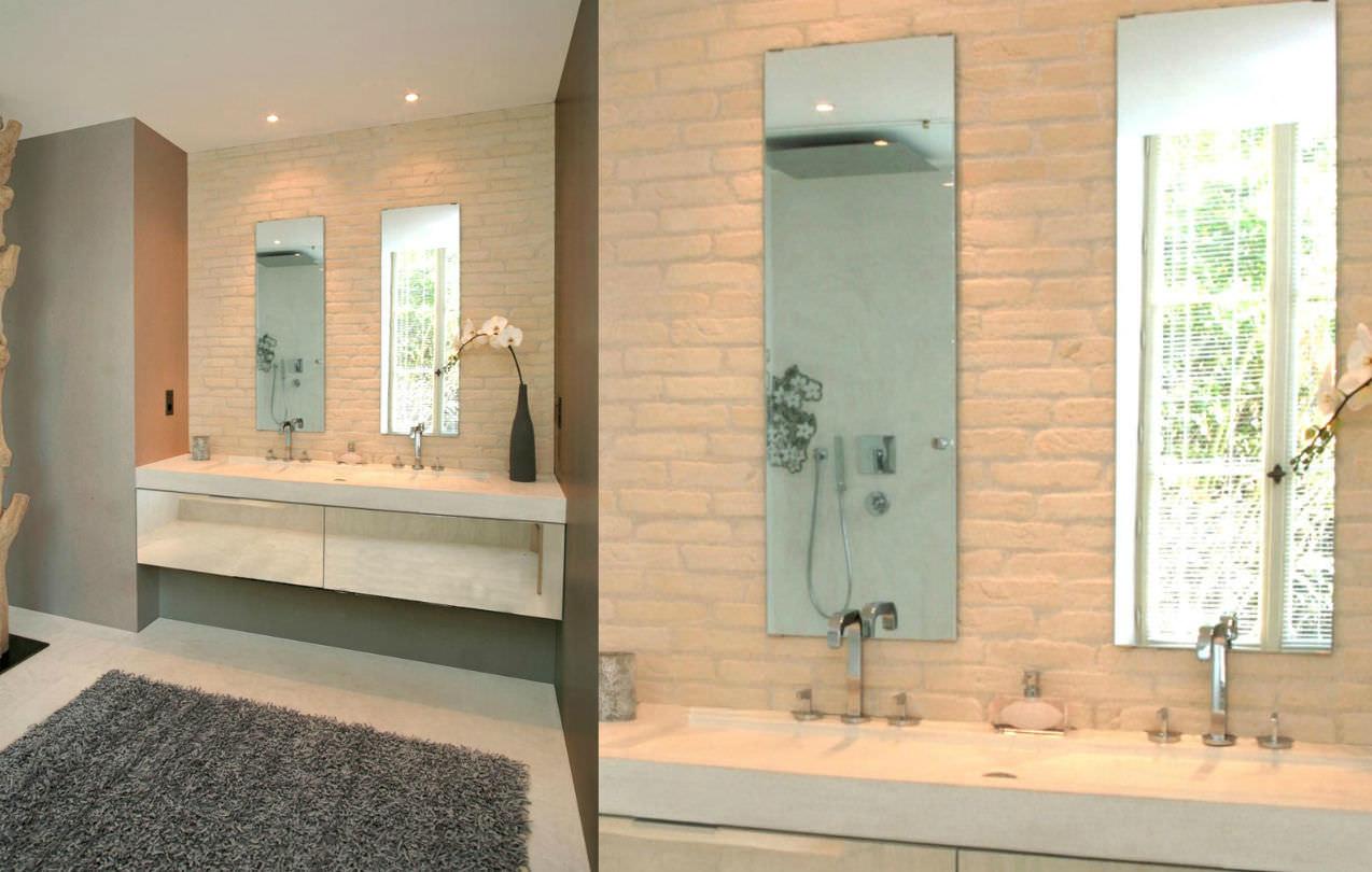 Clay wall cladding panel / interior / brick look - BRIQUE BLACK ...