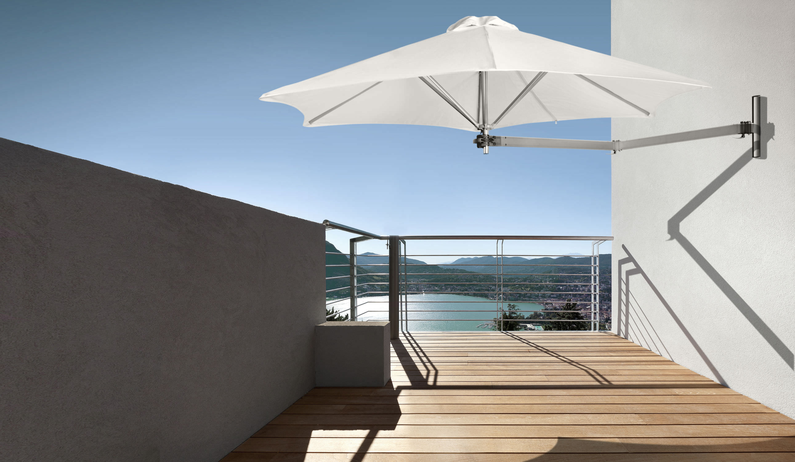 Wall Mounted Patio Umbrella Commercial Metal Orientable Paraflex By Peter Leleu