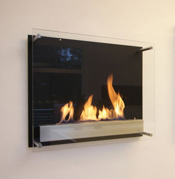 Bioethanol fireplace / contemporary / open hearth / wall-mounted ...