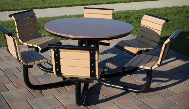 Contemporary Picnic Table Recycled Plastic Ipe Powdercoated - Recycled plastic round picnic table