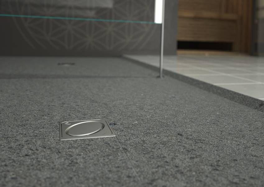 Stainless Steel Floor Drain For Showers Square Ultraflat Kessel