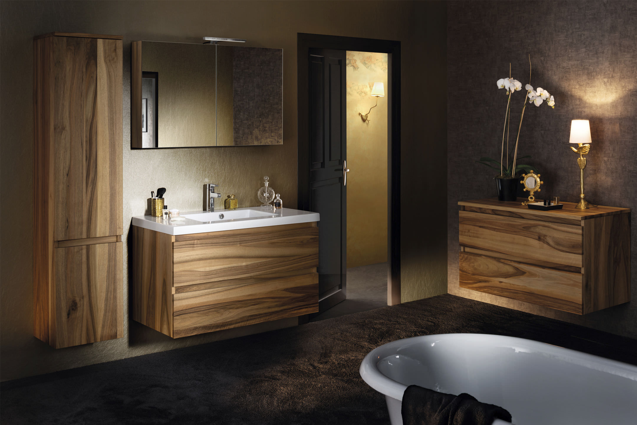 Bathroom base cabinet   wall mounted LIGNUM SANIJURA. Bathroom base cabinet   wall mounted   LIGNUM   SANIJURA