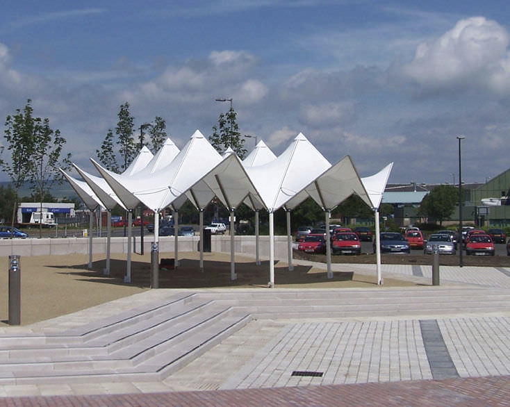 Tensile canopy / metal frame supported / for shelters / with PVC membrane - PAGODA  MULTI & Tensile canopy / metal frame supported / for shelters / with PVC ...