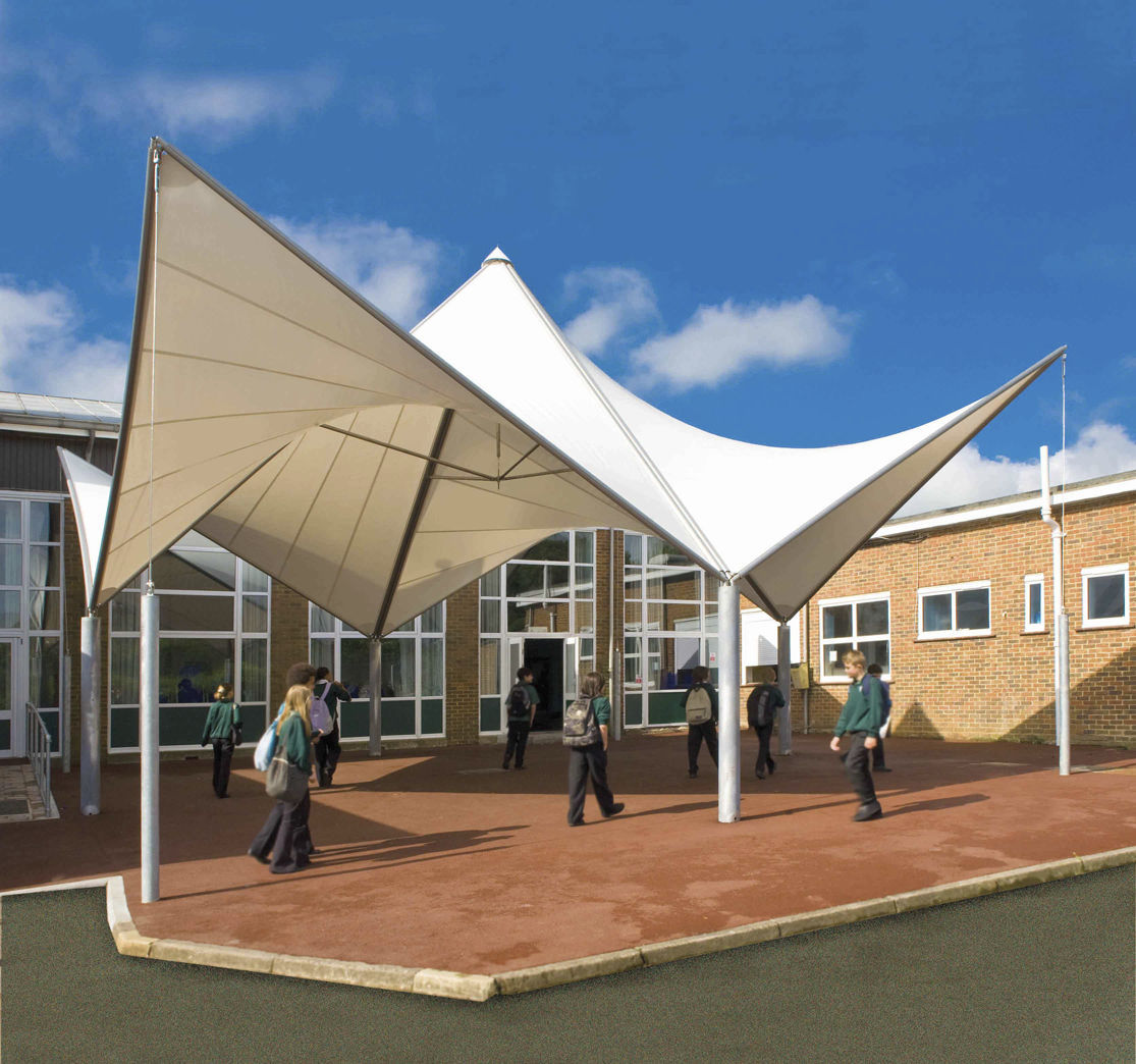Tensile canopy / metal frame supported / for entrance canopies / with PVC membrane - PAGODA  EVO & Tensile canopy / metal frame supported / for entrance canopies ...