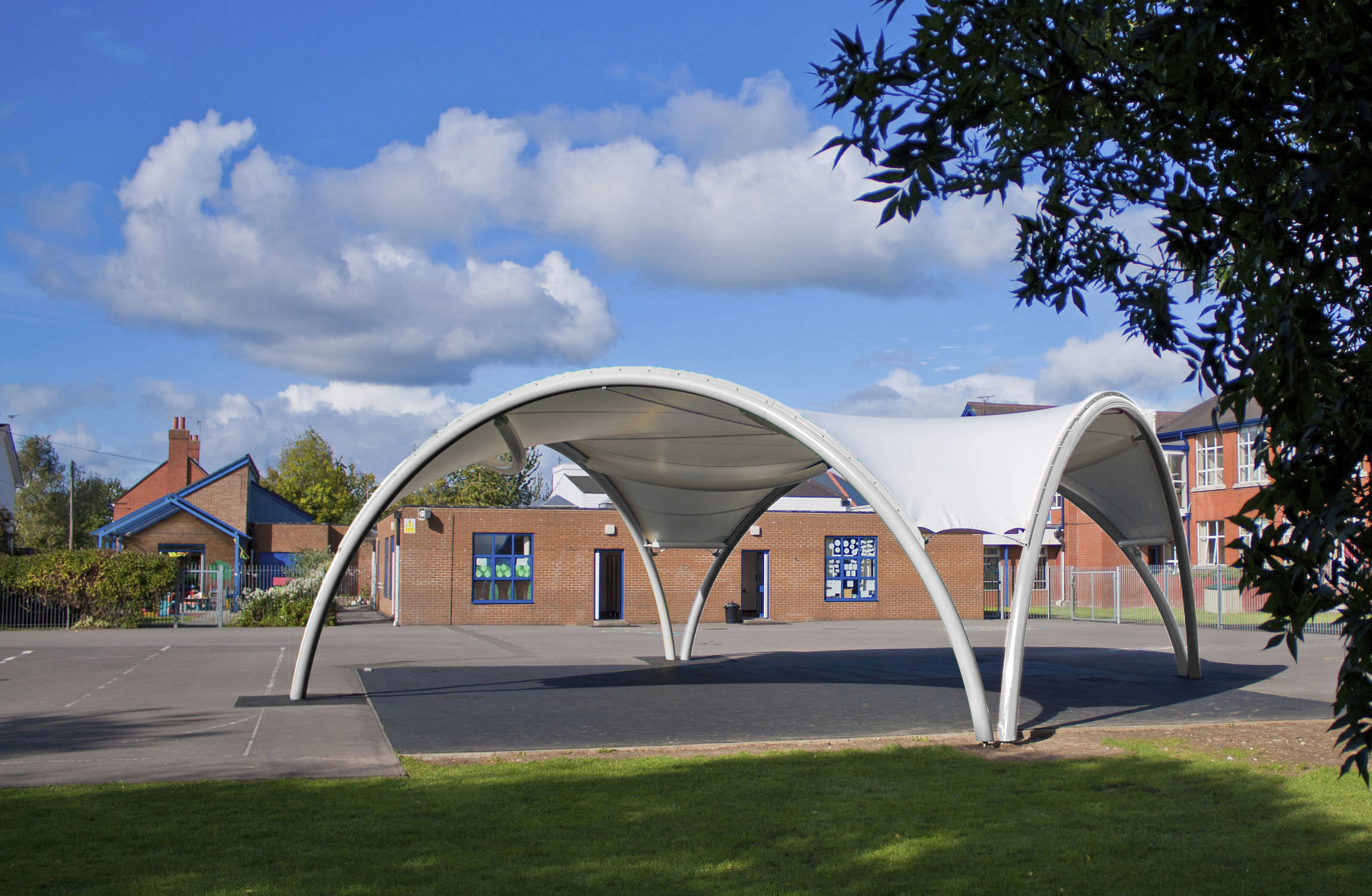 Tensile canopy / metal frame supported / for entrance canopies / with PVC membrane BARREL ... & Tensile canopy / metal frame supported / for entrance canopies ...