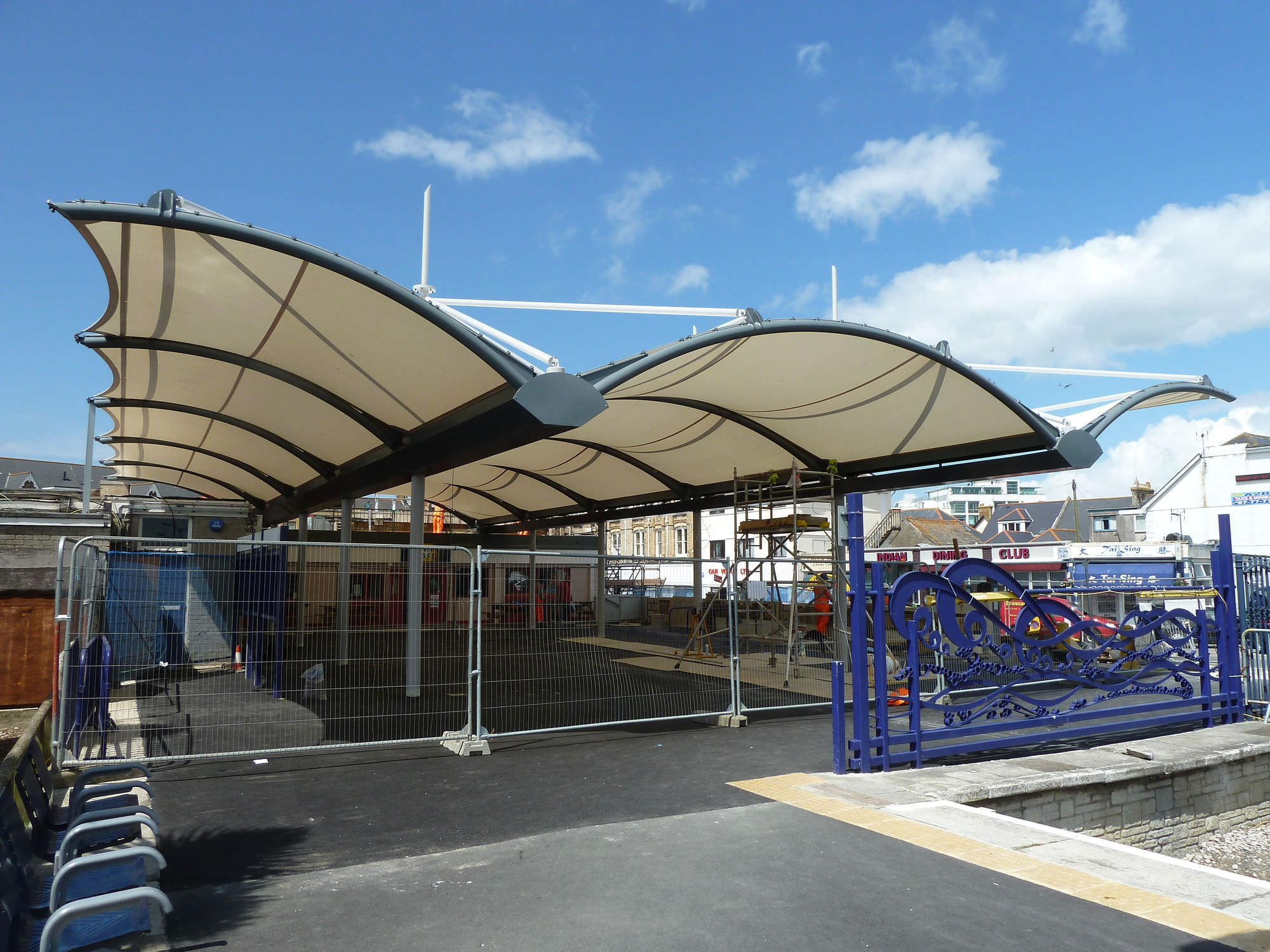 tensile canopy metal frame supported for public spaces with glass fiber cone newquay