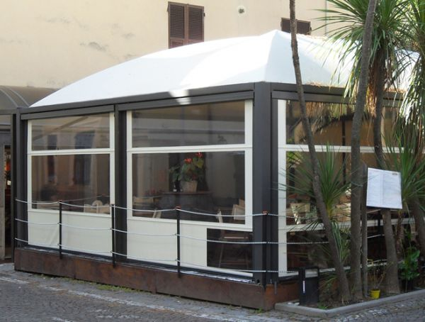 Pvc gazebo galvanized steel fabric roof for bars cicogna