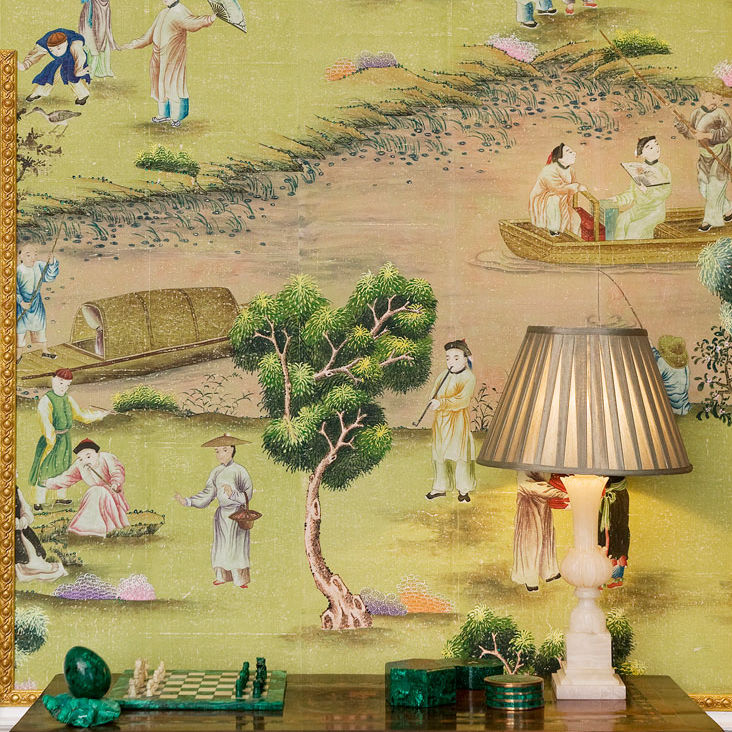 Traditional wallpaper / chinoiserie / fabric look / hand-painted ...