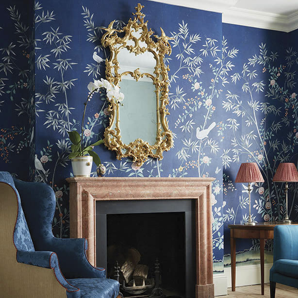 Traditional Wallpaper Chinoiserie Fabric Look Handmade Portman