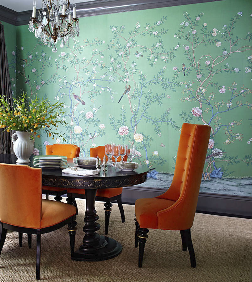 Traditional Wallpaper Floral Chinoiserie Fabric Look