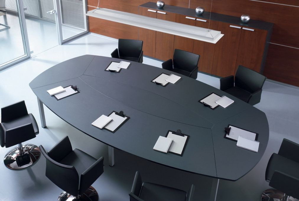 Contemporary Conference Table Wooden Glass Oval DOMINO - Oval glass conference table