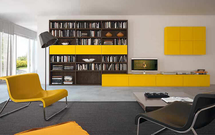 Contemporary TV wall unit / wooden / lacquered wood - COMPOSITION 15 ...