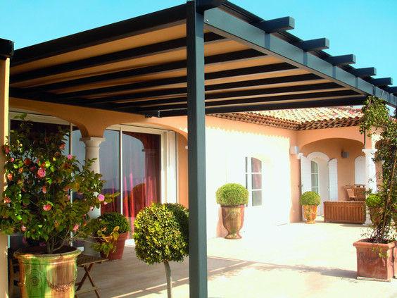 wall-mounted pergola / aluminum / fabric canopy / custom - VISIUM - Wall-mounted Pergola / Aluminum / Fabric Canopy / Custom - VISIUM