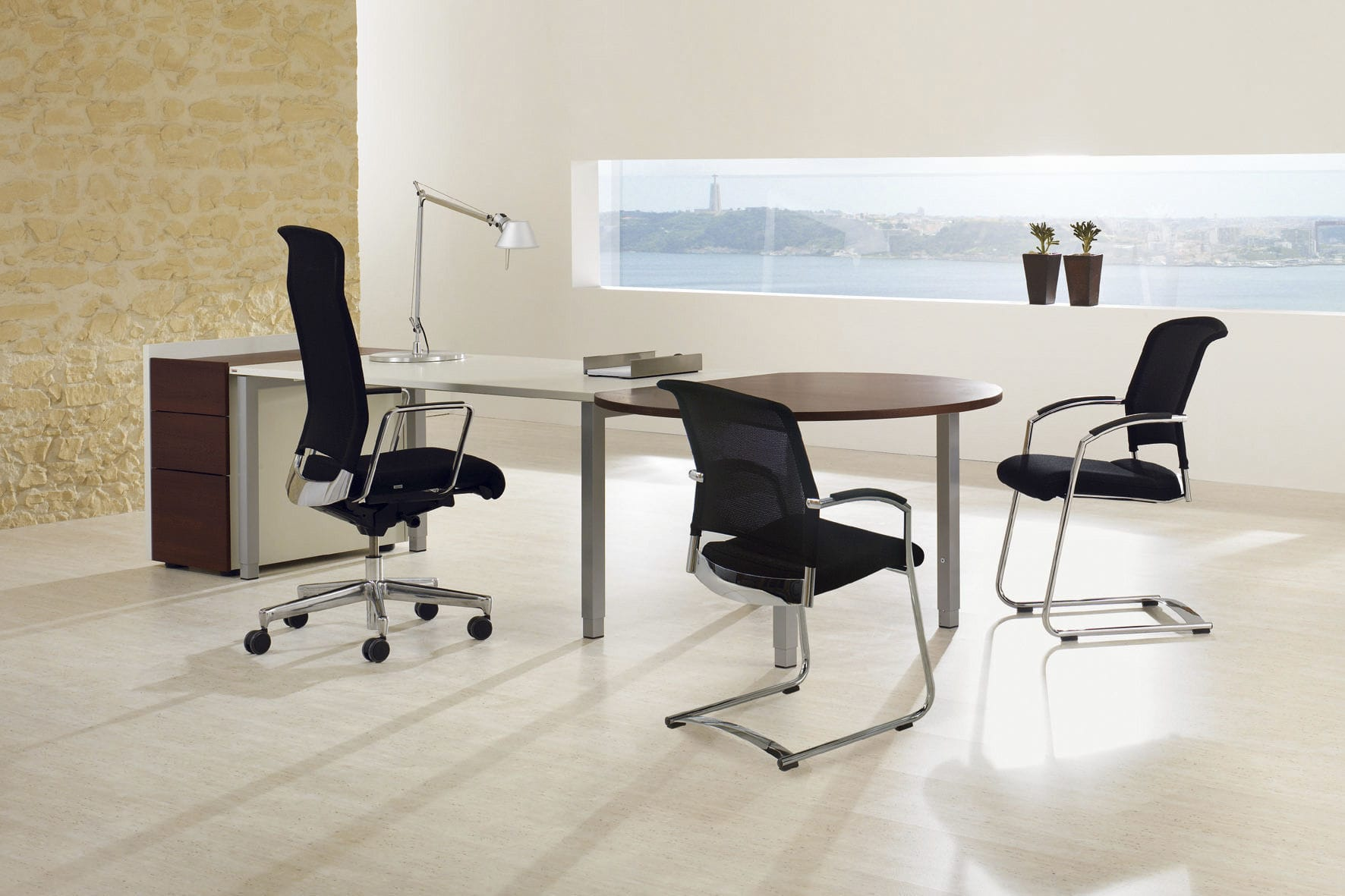 Contemporary boardroom table / wooden / rectangular / for public ...